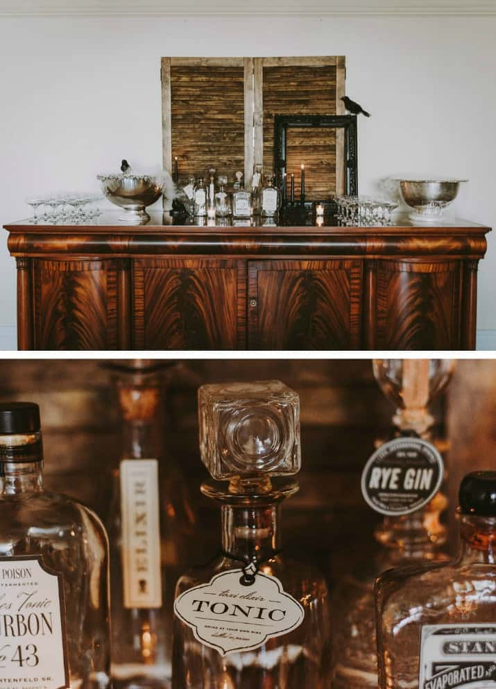 Elegant Beetlejuice Inspired Event Design bar and decanters