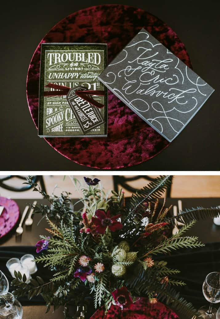 Elegant Beetlejuice Inspired Event Design invitations and flowers