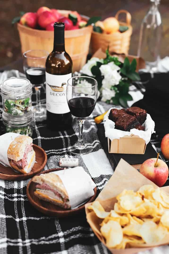 ideas for picnic food on black plaid blanket