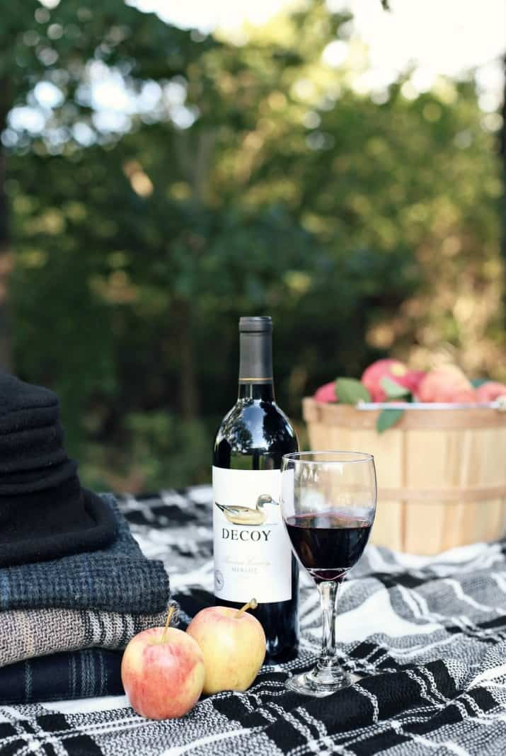 fall apple picking picnic with wine bottle and glass
