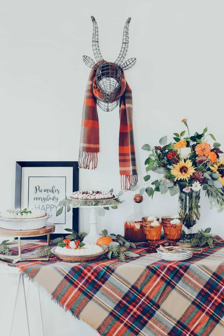 pie dessert table for fall
