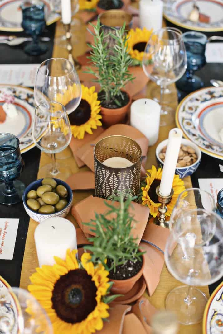 Italian themed dinner party & wine pairing, tablescape centerpiece