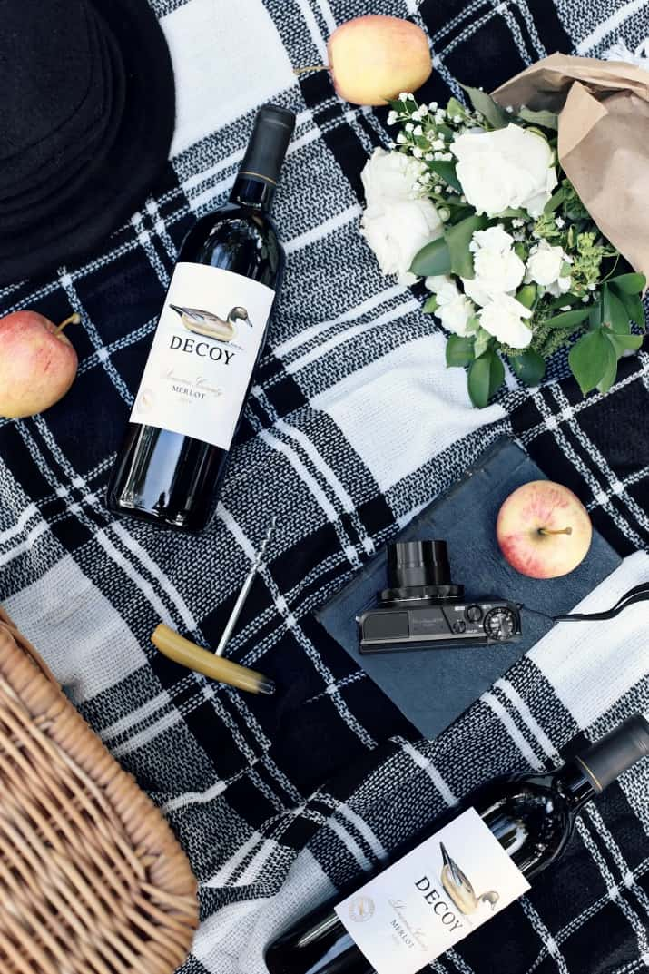 apple picking picnic with Merlot