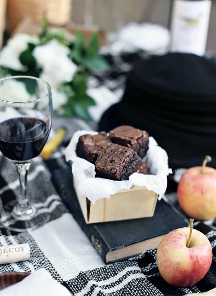 fall picnic with Merlot wine and brownies