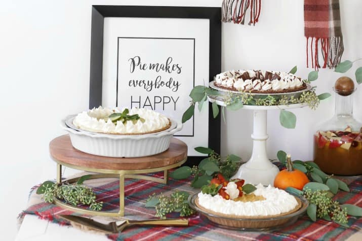 stylish pie bar for holiday entertaining, dessert display and sign
