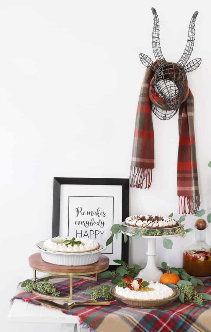 stylish pie bar for holiday entertaining, table with 3 pies