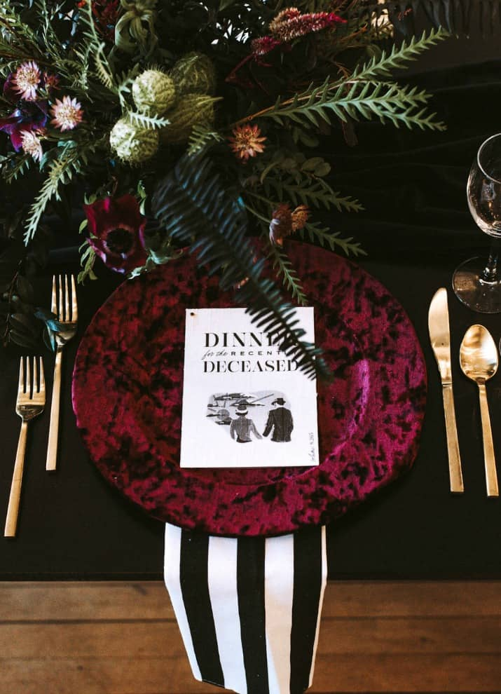 Elegant Beetlejuice Inspired Event Design place setting