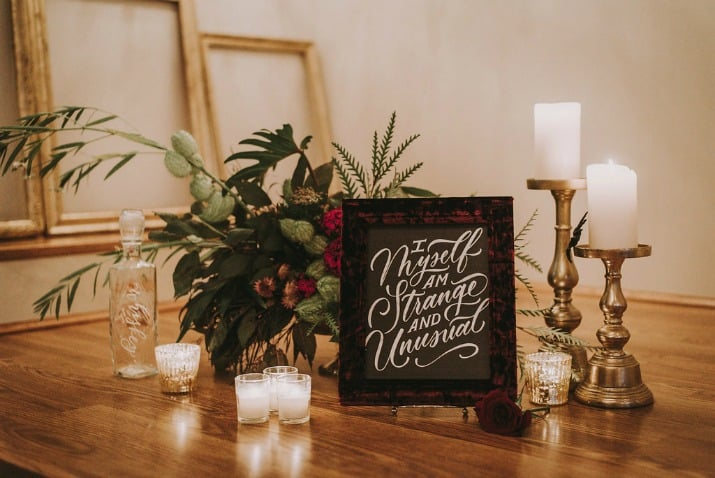 Elegant Beetlejuice Inspired Event Design welcome table