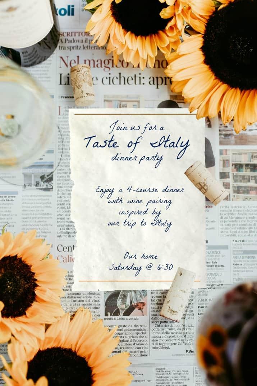 taste of Italy invitation wording