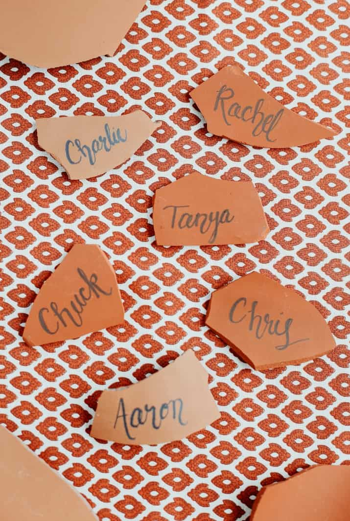 terra cotta pieces as place cards