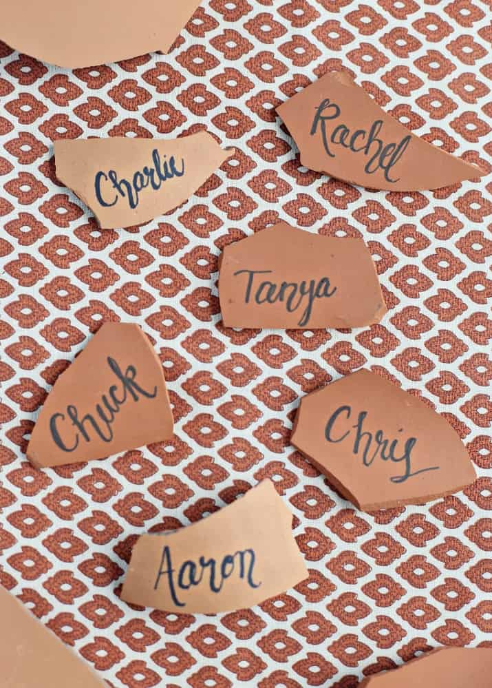 Italian themed dinner party & wine pairing terracotta place cards