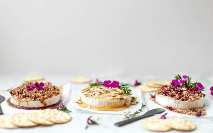 party appetizers, baked brie 3 ways in a row