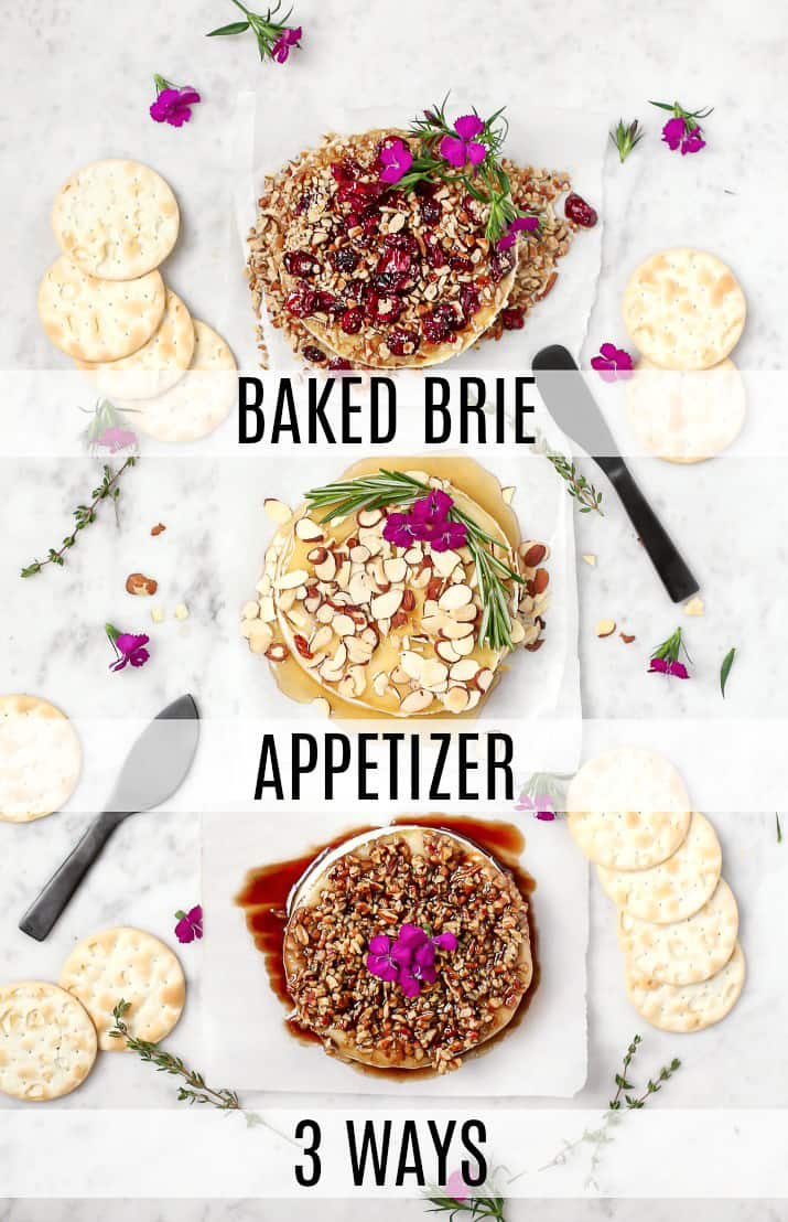 party appetizers, baked brie 3 ways overhead with text graphic