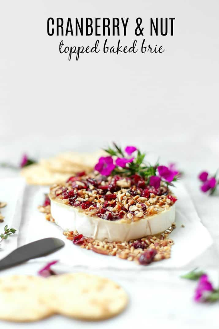 party appetizers, baked brie 3 ways, cranberry and nut
