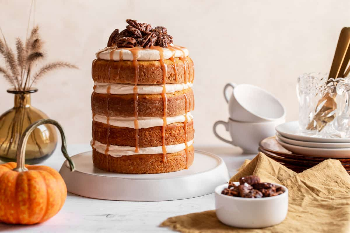 layered cake on table in an entertaining setting