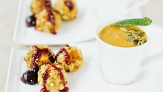 Curried Pumpkin Soup & Stuffing Balls