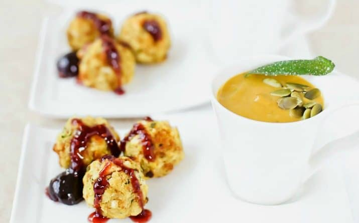 Curried Pumpkin Soup & Stuffing Balls