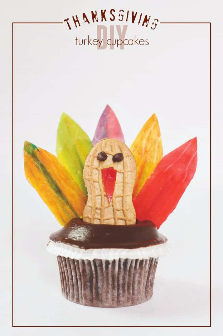 diy Thanksgiving turkey cupcakes, pinable text