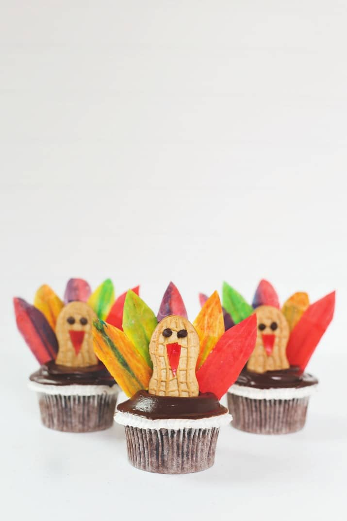 a trio of diy Thanksgiving turkey cupcakes