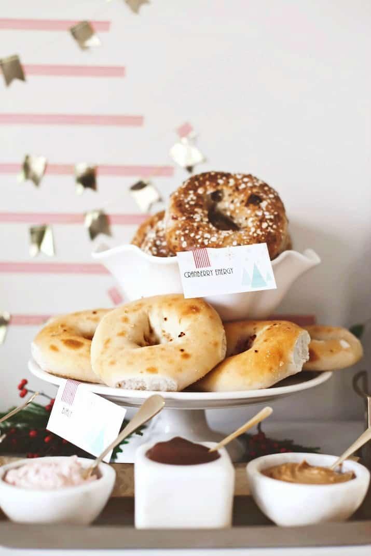 Holiday Bagel Breakfast Bar, bagels on cake pedestal