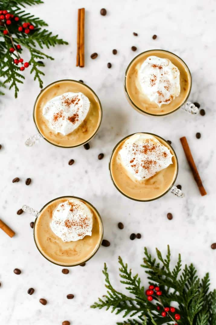Coffee Eggnog Punch Recipe in 4 glass, overhead view