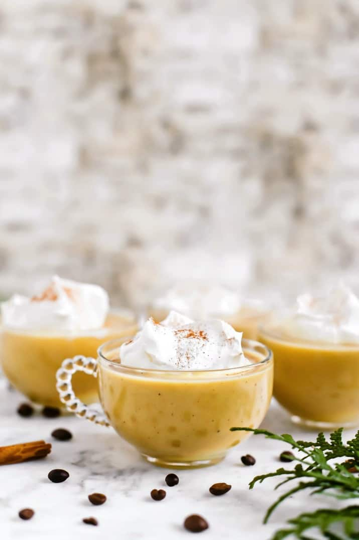 Coffee Eggnog Punch Recipe in 3 glass mugs, straight on view