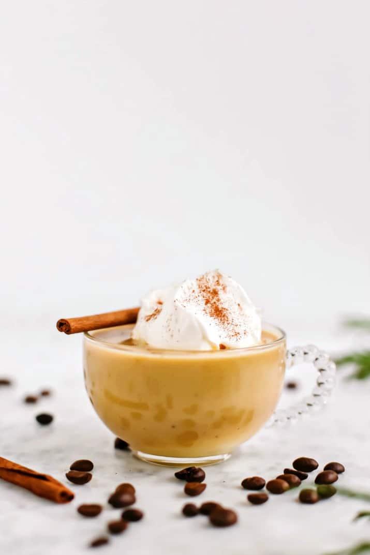 Coffee Eggnog Punch Recipe in coffee glass mug