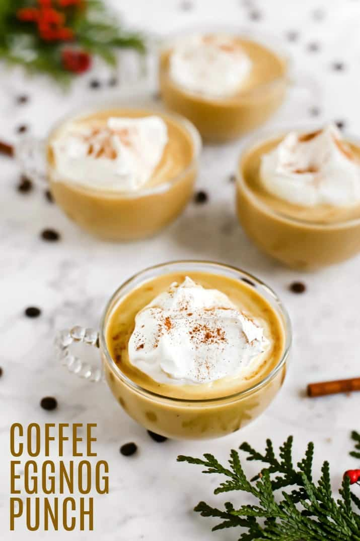 Coffee Eggnog Punch Recipe in 4 glass mugs with text
