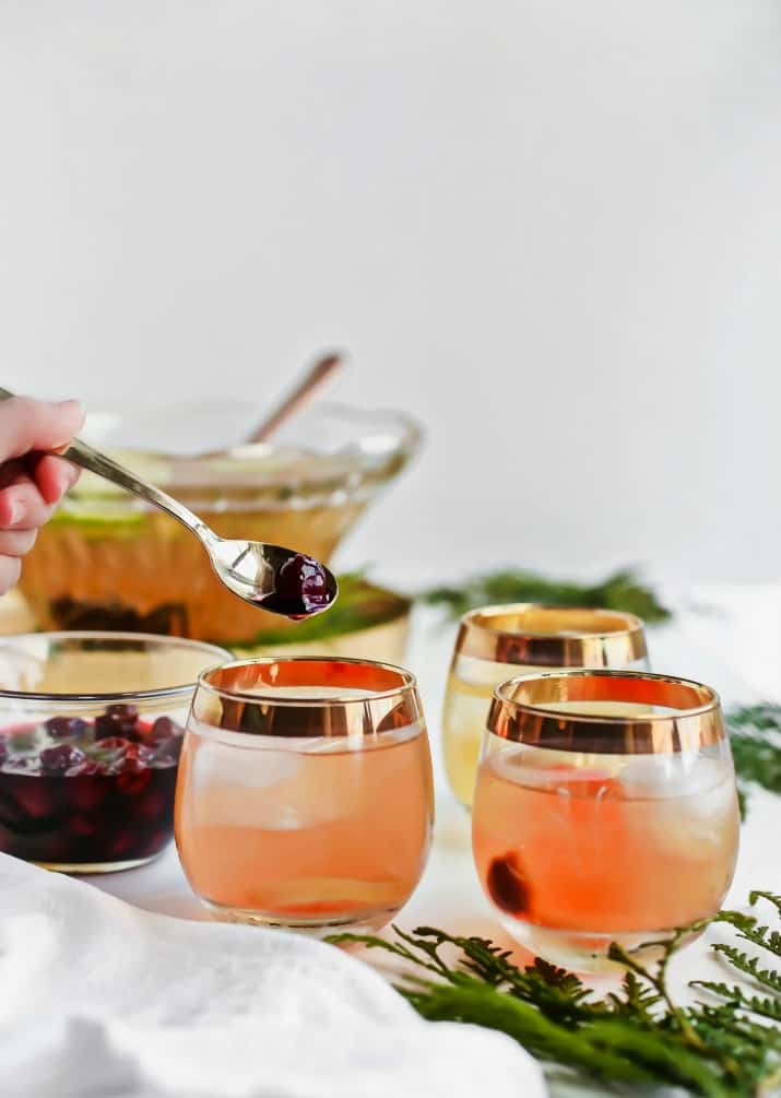 Salted Honey Whiskey Sour Punch with Drunken Cherries recipe