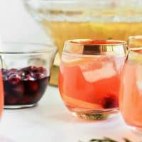 Salted Honey Whiskey Sour Punch with Drunken Cherries