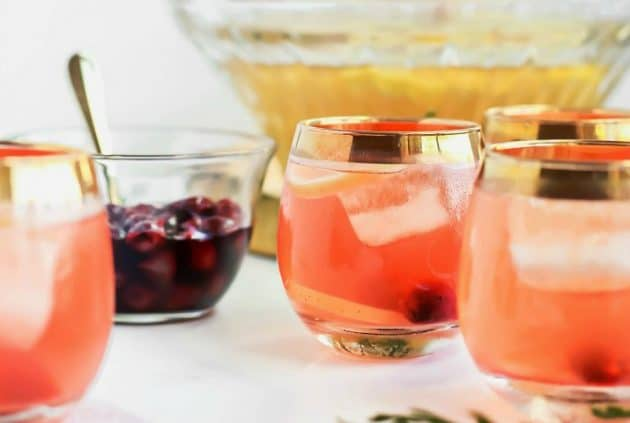 Salted Honey Whiskey Sour Punch with Drunken Cherries, party recipe