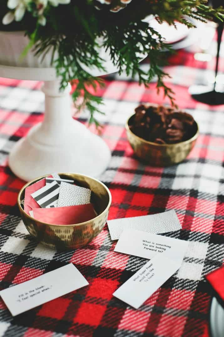 winter brunch plaid tablescape with conversation starters