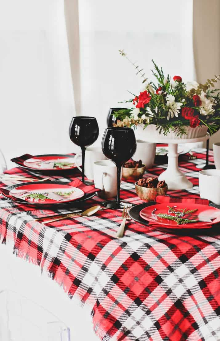 winter brunch plaid tablescape in red and black
