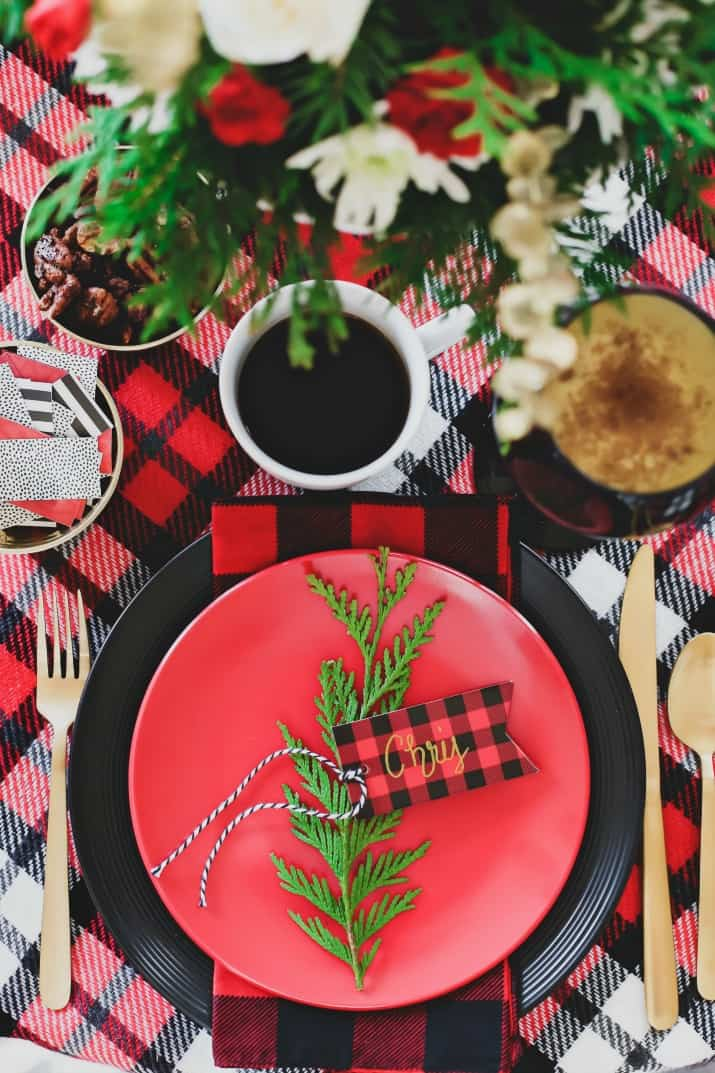 winter brunch plaid tablescape place setting overhead view
