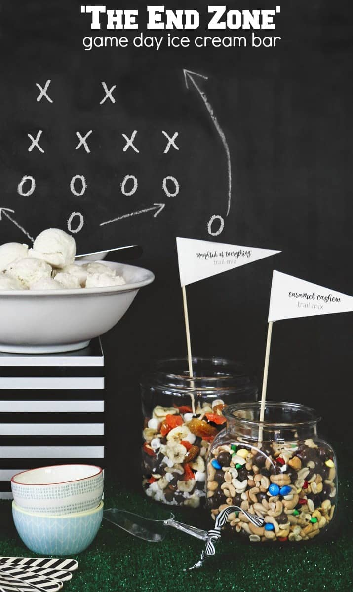 game day ice cream bar with football play backdrop