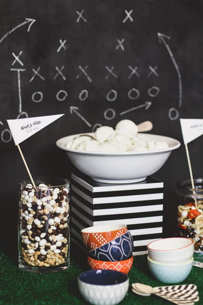 game day ice cream bar with trail mix toppings
