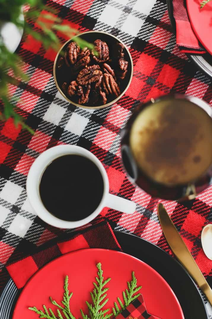 winter brunch plaid tablescape overhead view of coffee and eggnog punch