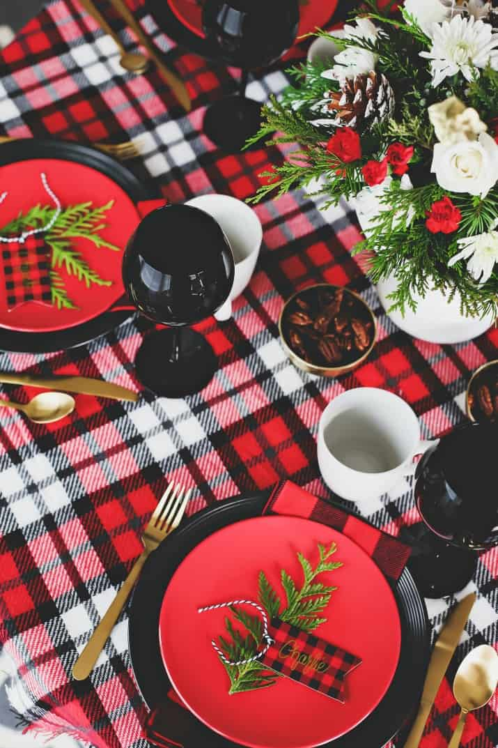 winter brunch plaid tablescape, red and black with greenery