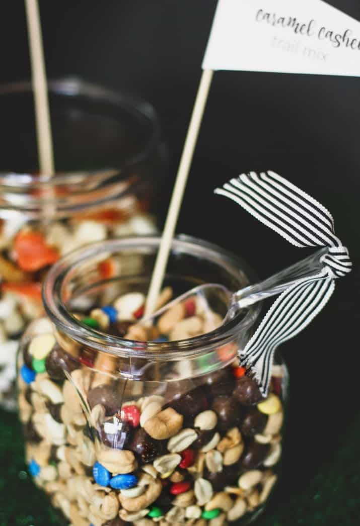 game day ice cream bar with canisters of trail mix