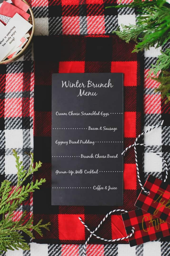 winter brunch plaid tablescape menu card
