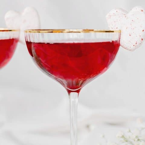 red sweetheart cocktail recipe for Valentine's day