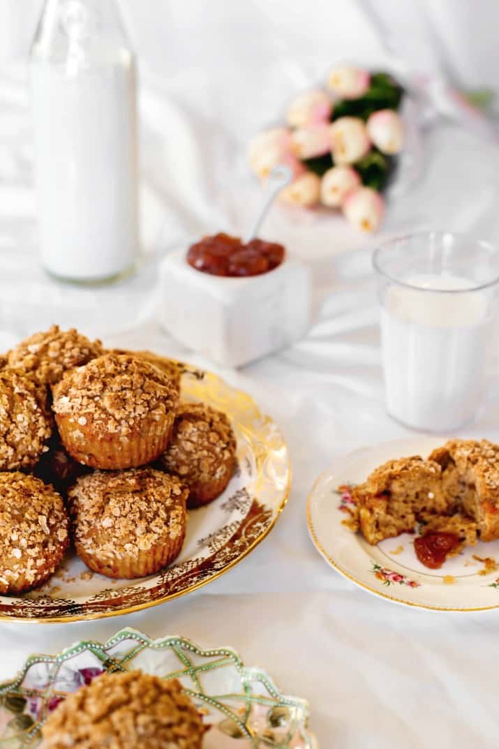 spice muffins with oatmeal topping in brunch setting