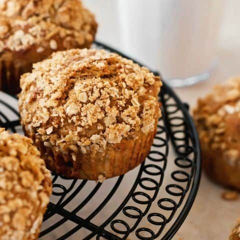 spice muffins with oatmeal topping recipe card