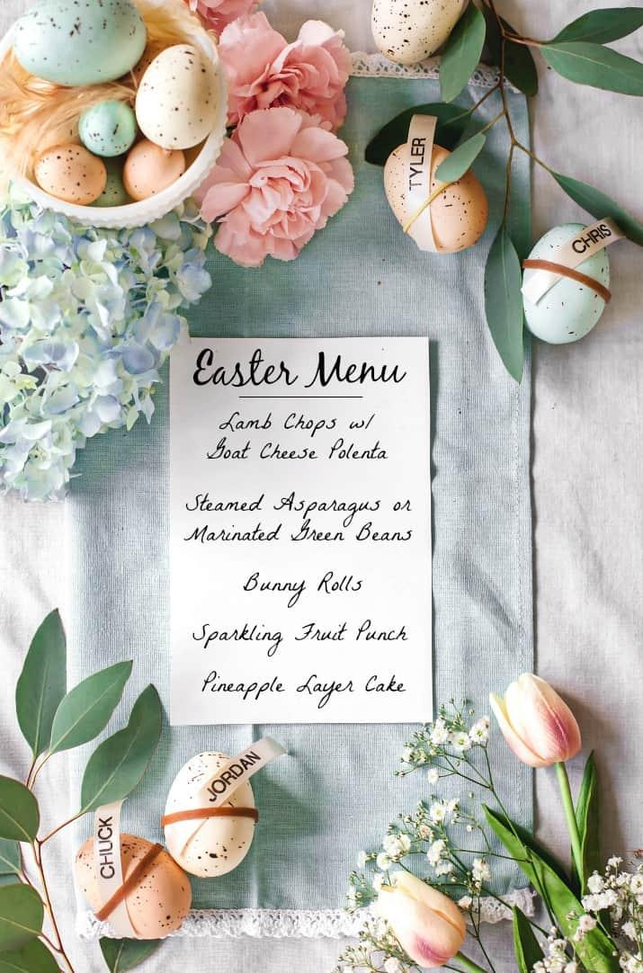Easter entertaining dinner menu card