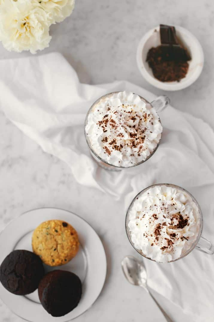 Kahlúa Coffee Recipe with Irish Cream, two mugs with plate of muffins overhead