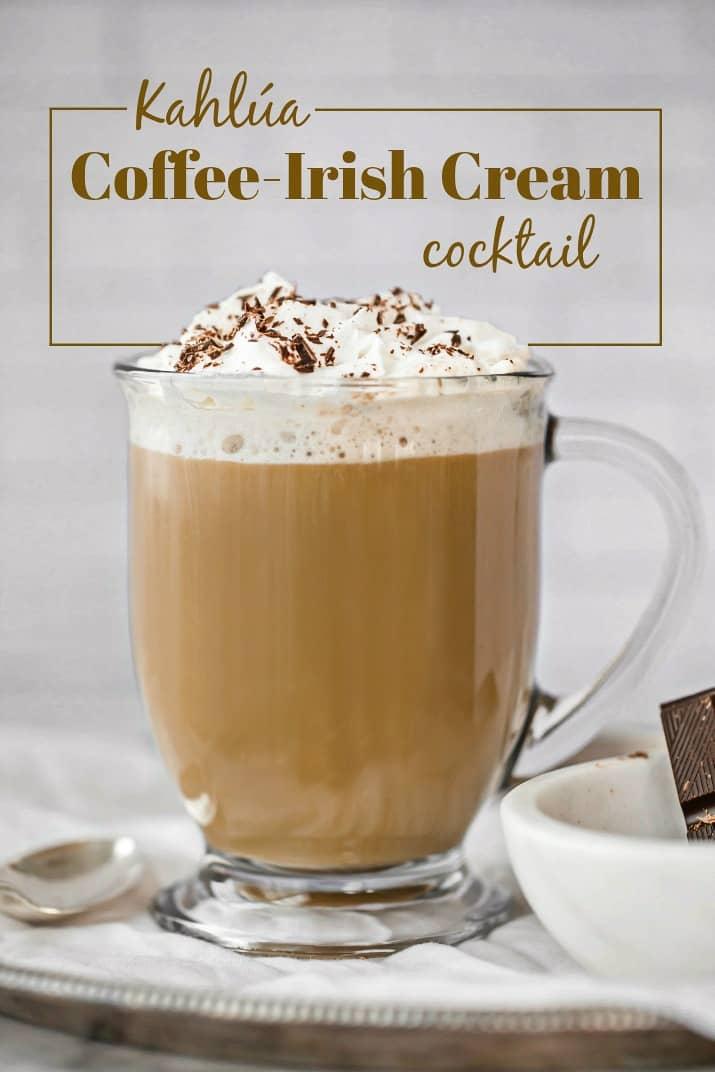 coffee cocktail, single glass mug with text