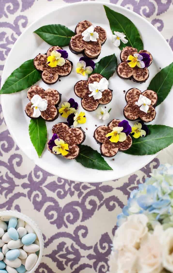 spring luncheon dessert mini mousses on white platter overhead view