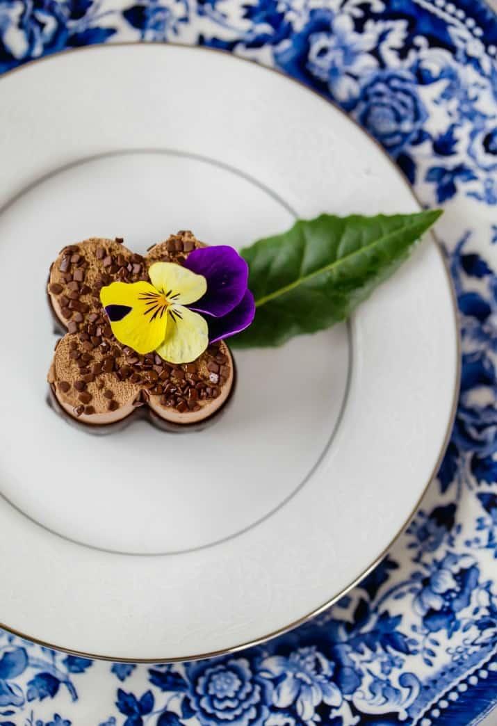 spring luncheon dessert on white plate