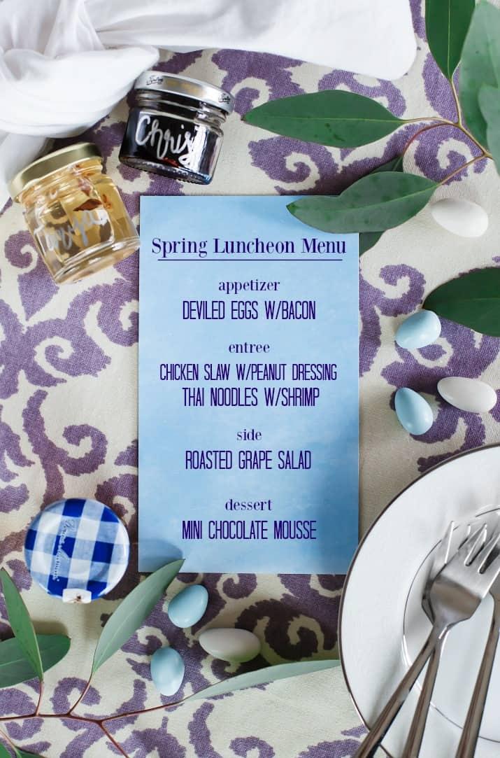 ladies luncheon menu