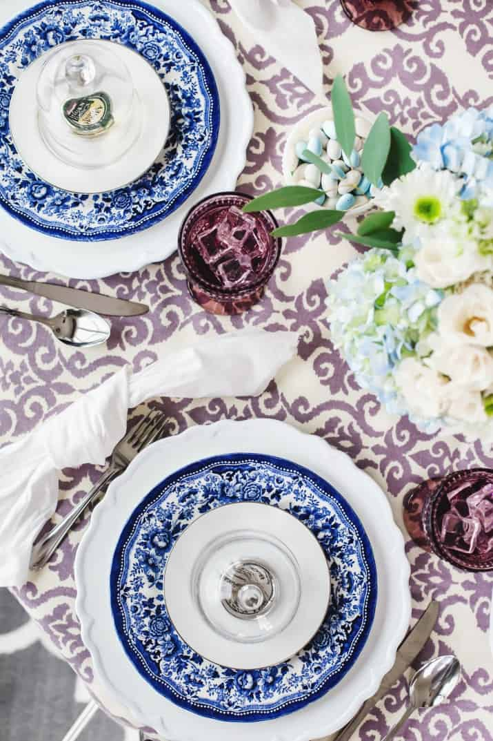 Spring Ladies Luncheon blue and white and purple table setting